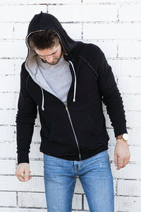 Brushed Hacci Thermal Lined Zip Hoodie