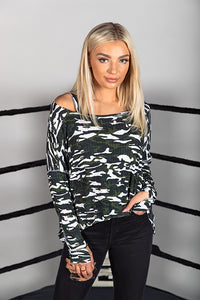 Camo Cut Shoulder Boxy Tee