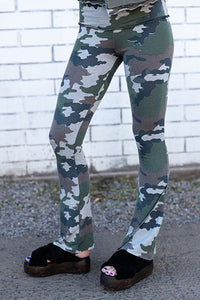 French Terry Camo Bootleg Pant