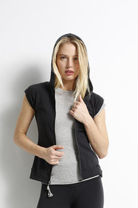 Tencel Fleece Cut-Off Zip Hoodie w/Lace Up Back