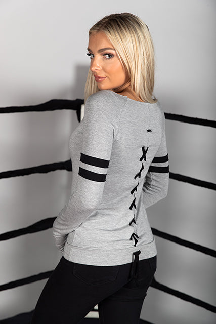 French Terry Varsity Lace Back Sweatshirt