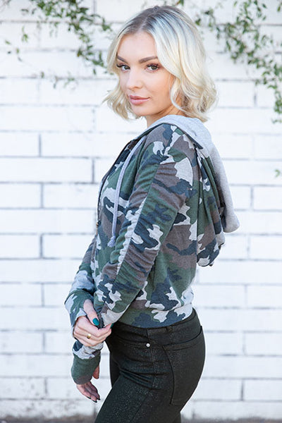Camo French Terry Shirred Sleeve Zip Hoodie
