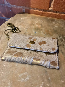 Cream & Gold Fur Coin Purse