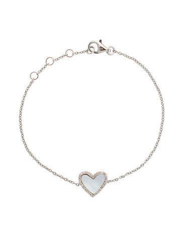 Diamond Mini Mother of Pearl Heart Bracelet