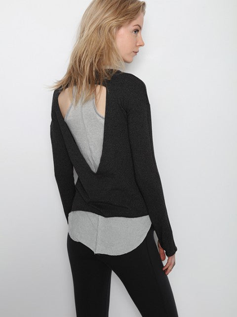 Recycled Fleece V-Neck Cut Out Sweatshirt