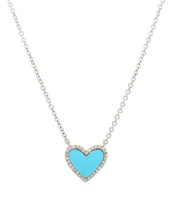 Diamond Mini Turquoise Heart Necklace