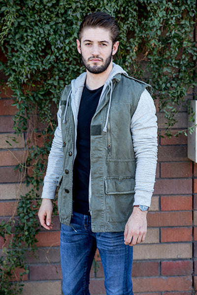Vintage French '60's Surplus Vest w/Zip Hooded Sweatshirt