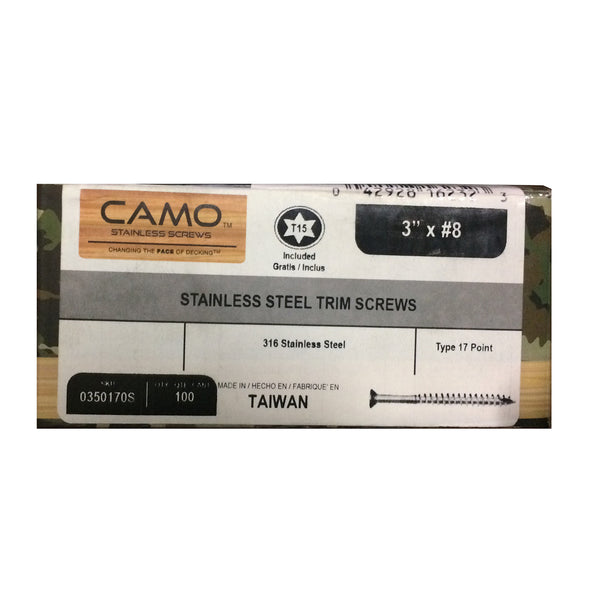"NATIONAL NAIL 0350170S CAMO Stainless Steel T15 Star Drive 3"" #8 Premium Trimhead Screws 100 Pack"