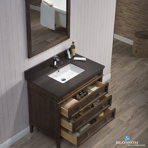 "BLOSSOM 015-36-19-MWQ Bordeaux 36"" Vanity Set w/Mirror Quartz Black Red Oak"