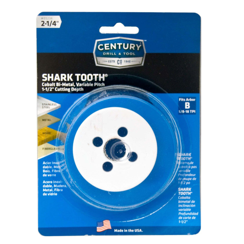 "CENTURY TOOL 05236 Shark Tooth® 1-7/8"" Deep All Purpose Bi-Metal 2-1/4"" Hole Saw"