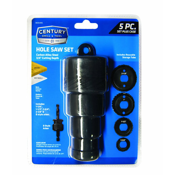 "CENTURY TOOL 05495 5PC Carbon Alloy Steel Wood Cut 1-1/4"" - 2- 1/8"" Hole Saw Set"