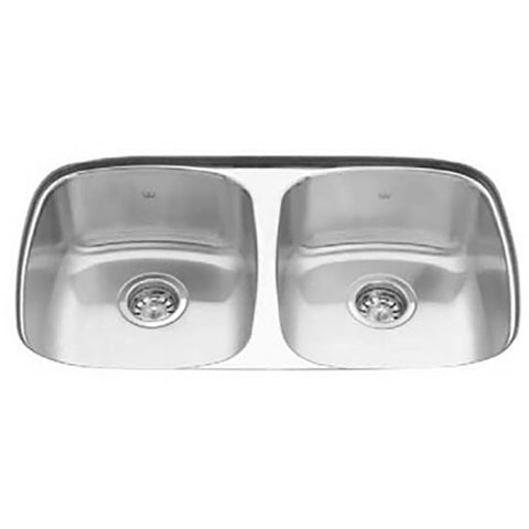 KINDRED UD1831/90RK/E Double Bowl Undermount Kitchen Sink 18 Ga. Stainless Steel