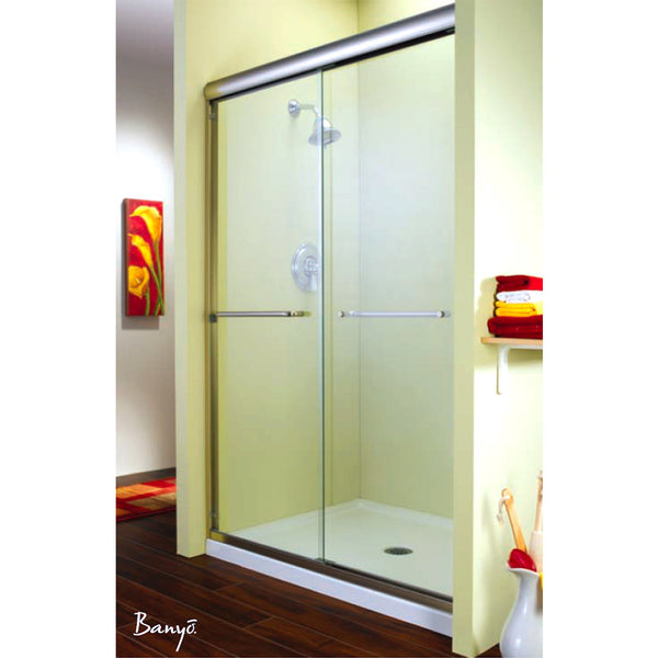 "FLEURCO ES1060-25-40 Cordoba 56""-59"" Frameless Shower Enclosures Br Nickel/Clear"