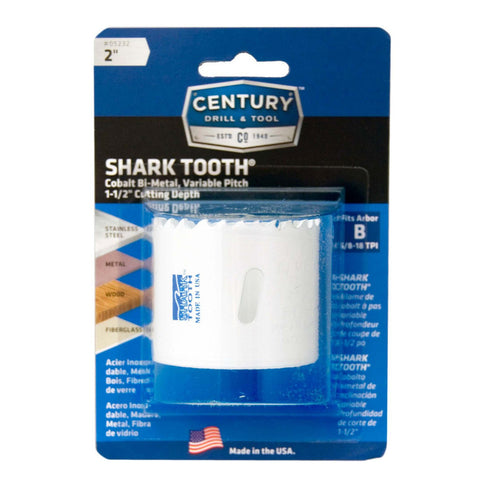 "CENTURY TOOL 05232 Shark Tooth® 1-7/8"" Deep All Purpose Bi-Metal 2"" Hole Saw"