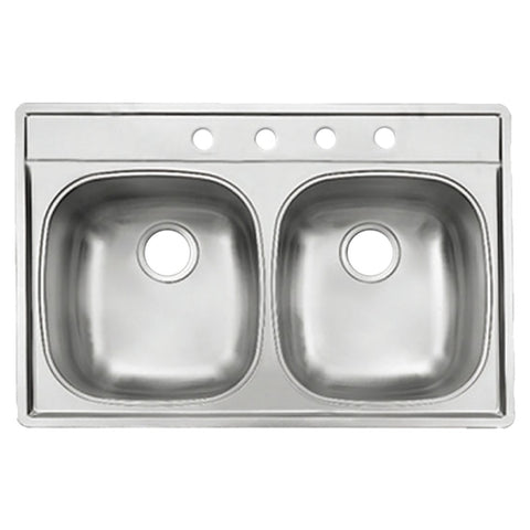 KINDRED D2233/95MK/4E Noble Double Bowl Topmount Kitchen Sink Stainless Steel