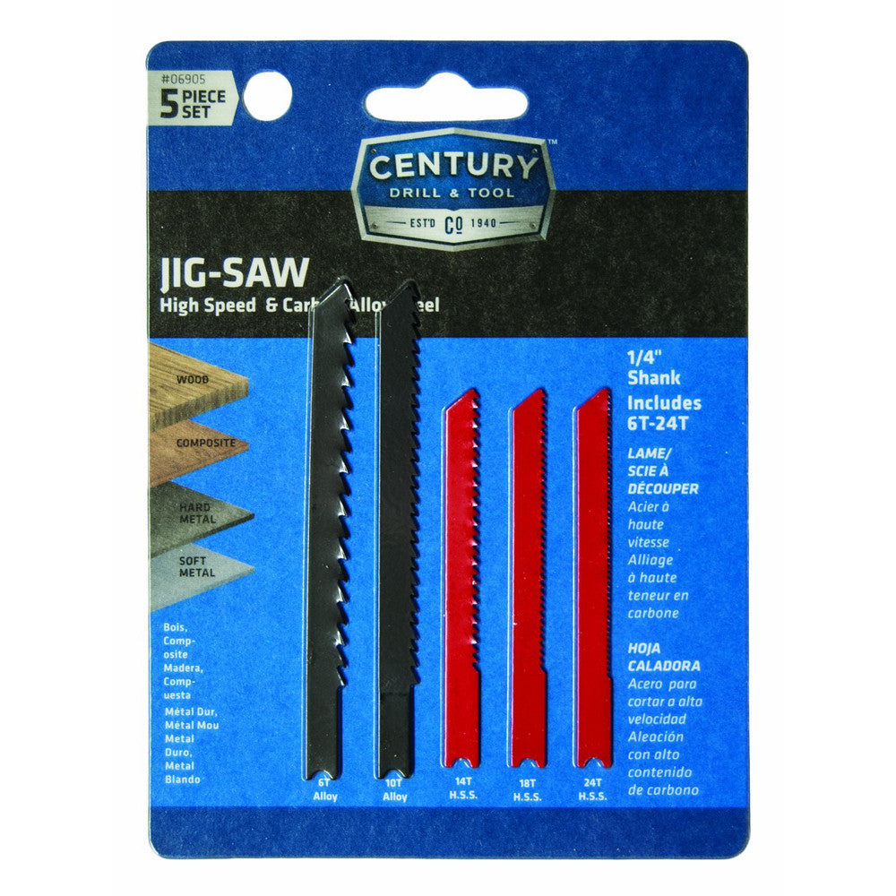 CENTURY TOOL 06905 5PC Carbon Alloy/HSS Jig Saw Blade Set Assorted 6TPI to 24TPI