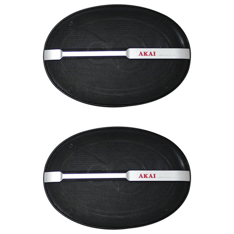"AKAI AK-SP-6988 Audiophile Cone 6 x 9"" 3-Way Coaxial Speaker 80W Rated/600W Peak"