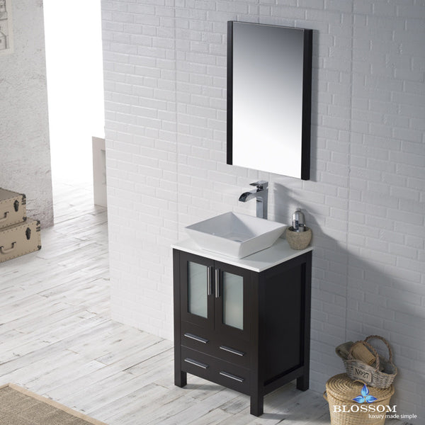 "BLOSSOM 001-24-02-1616V Sydney 24"" Vanity Set w/Vessel Sink and Mirror Espresso"
