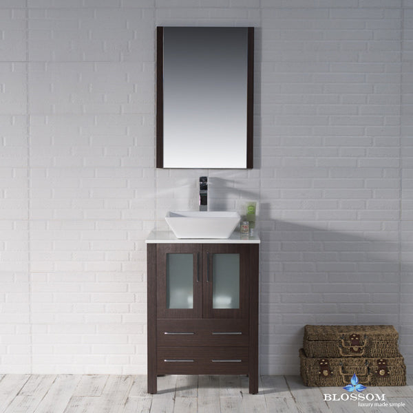 "BLOSSOM 001-24-03-1616V Sydney 24"" Vanity Set with Vessel Sink and Mirror Wenge"