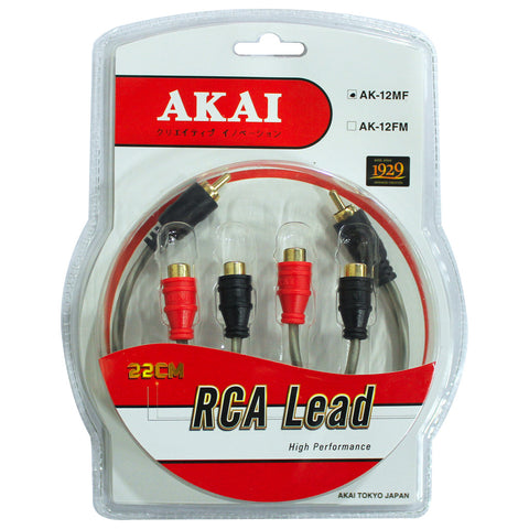 AKAI AK-12MF Gold Plated 10x.12 CU x2 x2 RCA Lead Mail to Female Car Audio Cable