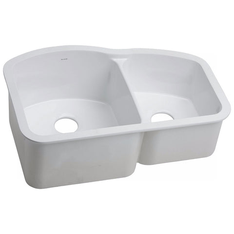 ELKAY SWU322010RWH Explore™ Fine Fireclay Double Bowl Undermount Sink White