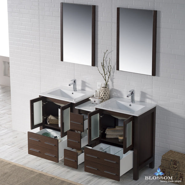"BLOSSOM 001-60-03-D Sydney 60"" Double Vanity Set with Mirrors Wenge"