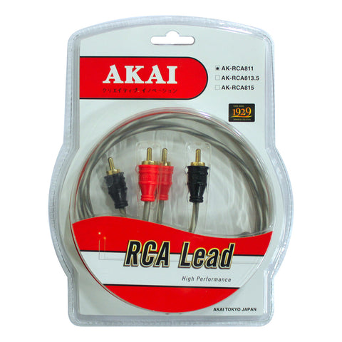 AKAI AK-RCA811 Gold Plated 10 x .12 CU x 2 x 2 RCA Lead Car Audio Cable 4 x 8mm