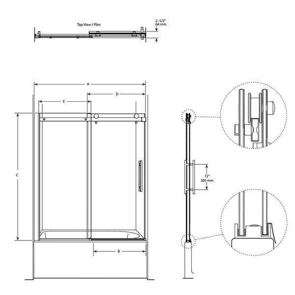 "FLEURCO  NOV060-25-40 Novara 60 x 66"" Tub Enclosure Door & Panel Br Nickel/Clear"