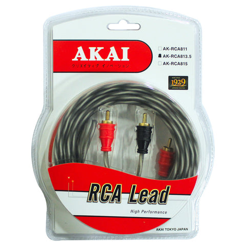 AKAI AK-RCA813.5 Gold Plated 10 x .12 CU x 2 x 2 RCA Lead Car Audio Cable 4 x8mm