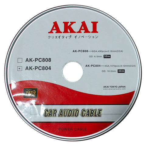 AKAI AK-PC804 4 Gauge 1470 pcs x 0.12mm 10mm OD 30m Car Audio Power Cable CCA