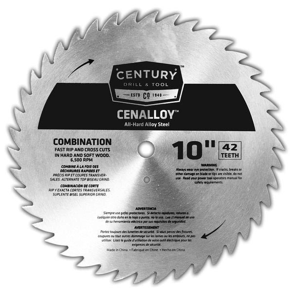 "CENTURY TOOL 08213 Combination Cenalloy Rip/Crosscut 10"" Circular Saw Blade 42T"