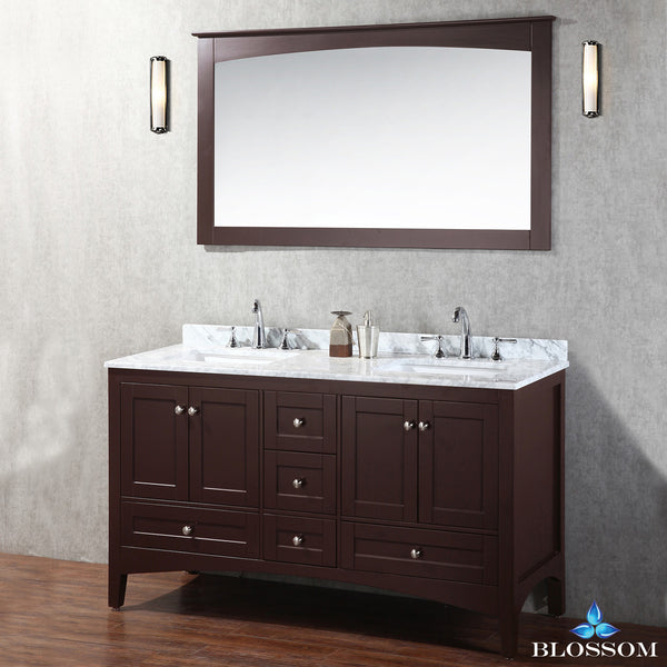 "BLOSSOM 003-60-02 Dubai 60"" Double Vanity Set with Mirror Espresso"