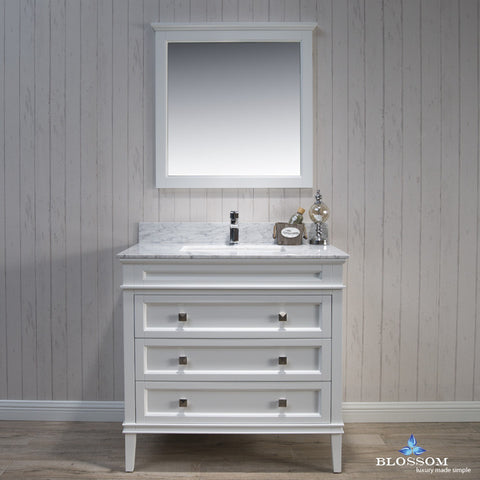 "BLOSSOM 015-36-01-WCM Bordeaux 36"" Vanity Set w/Mirror Marble Countertop White"