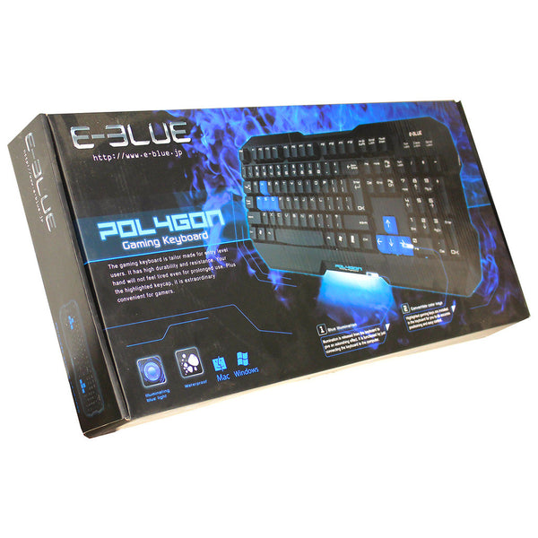 E-BLUE EKM075BK Polygon Convertible Color Keys Gaming Keyboard Black w/Backlight