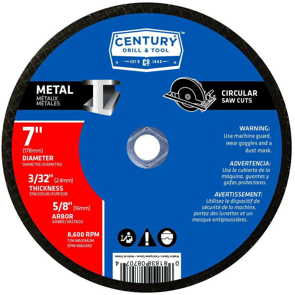 "CENTURY TOOL 08707 TYPE 1A/A24R Metal/Steel 7"" Abrasive/Cut-Off Blade 8600RPM"