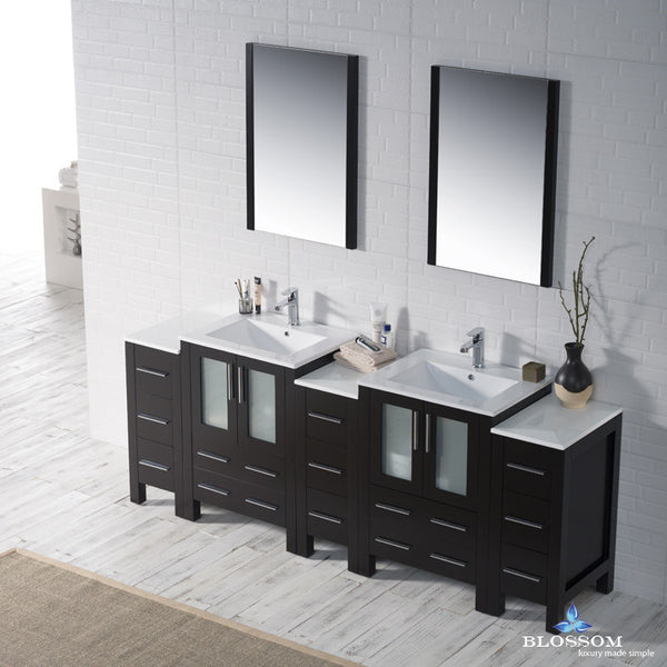 "BLOSSOM 001-84-02-DSC Sydney 84"" Vanity Set with Double Side Cabinets Espresso"