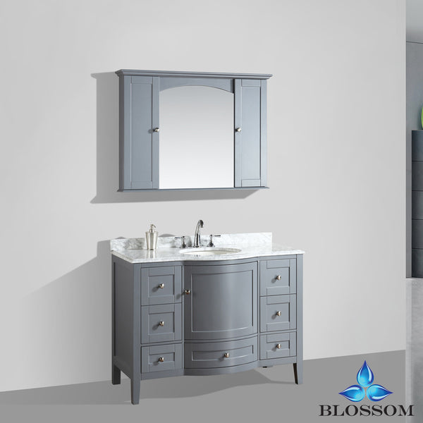 "BLOSSOM 002-48-15 Rome 48"" Vanity Set with Mirror/Wall Cabinets Charcoal Gray"