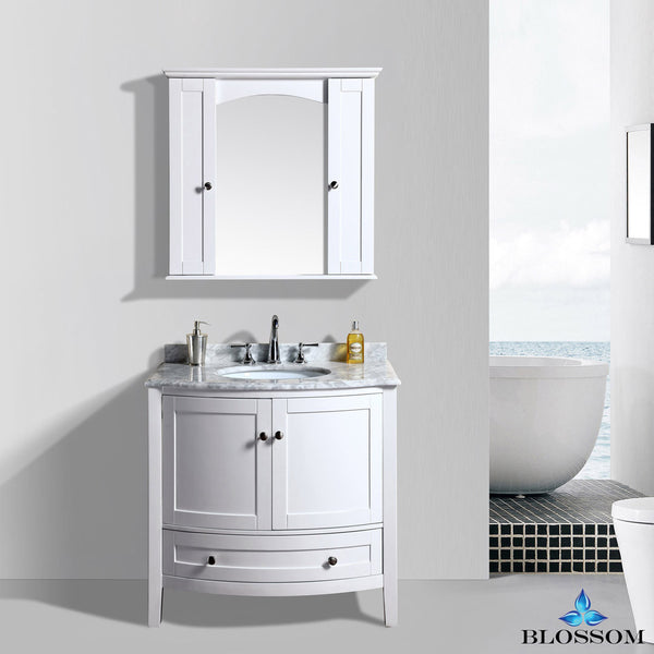 "BLOSSOM 002-36-01 Rome 36"" Vanity Set with Mirror and Wall Cabinets White"