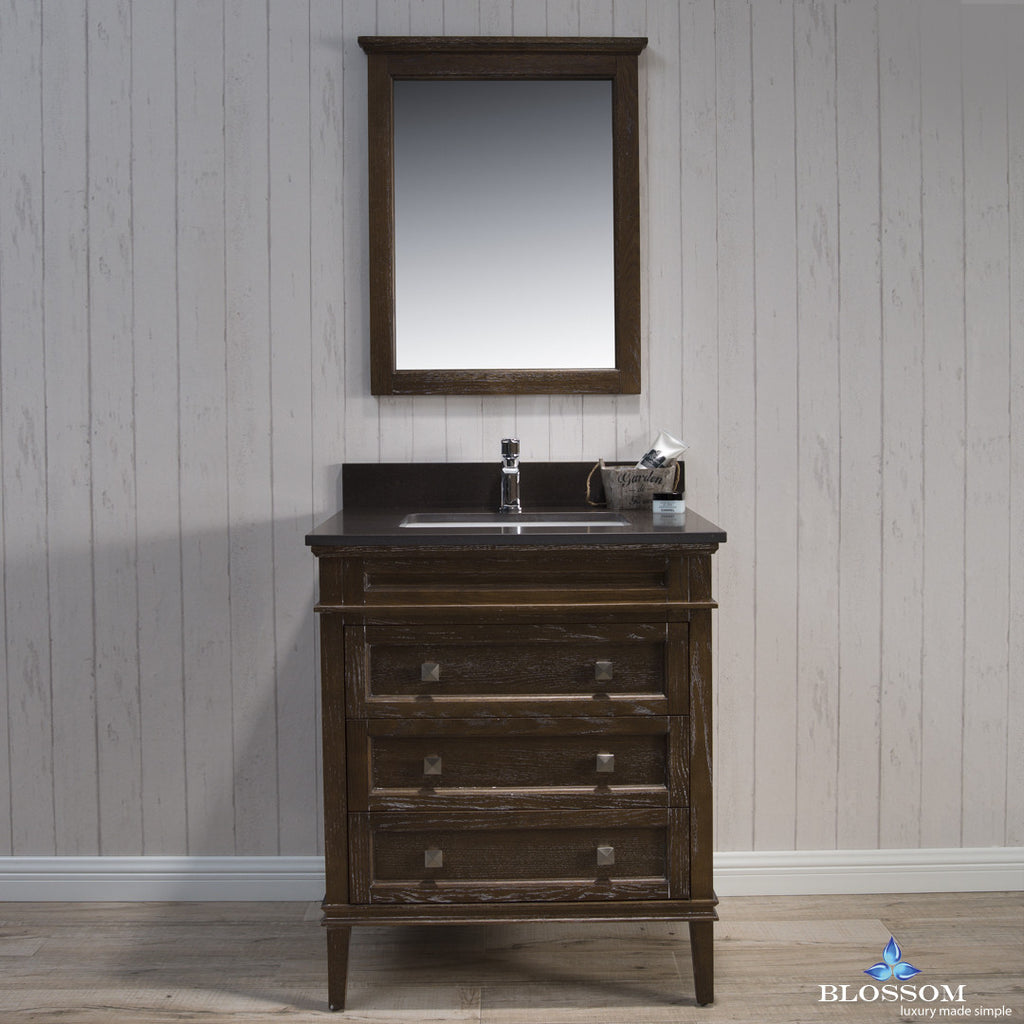 "BLOSSOM 015-30-19-MWQ Bordeaux 30"" Vanity Set w/Mirror Quartz Black Red Oak"