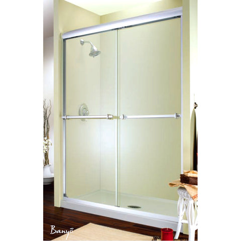 "FLEURCO E448-25-40 Verona 44"" - 48"" Frameless Shower Enclosures Br Nickel/Clear"