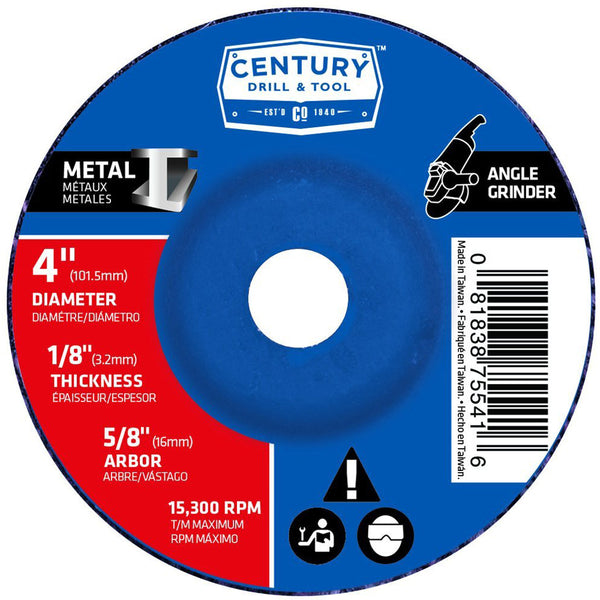 "CENTURY TOOL 75541 TYPE 27 A24R Metal 1/8 x 4"" Grinding Wheel 5/8 Arbor 15300RPM"