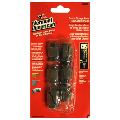 "VERMONT AMERICAN 18625 6 PC 9/16"" - 3"" Hole Saw Quick Change Mandrel Adapter Set"