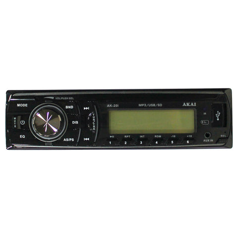 AKAI AK-201 2 Channel Single DIN MP3 WMA Player AM/FM Car Radio USB 4 x 50W 12V