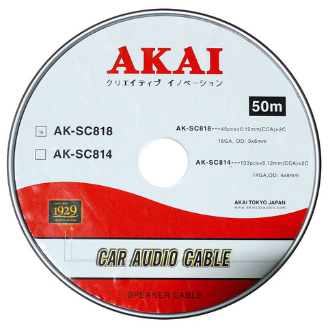 AKAI AK-SC818 18 Gauge 45 pcs x0.12mm 3 x6mm OD Car Audio Speaker Cable CCA x 2C