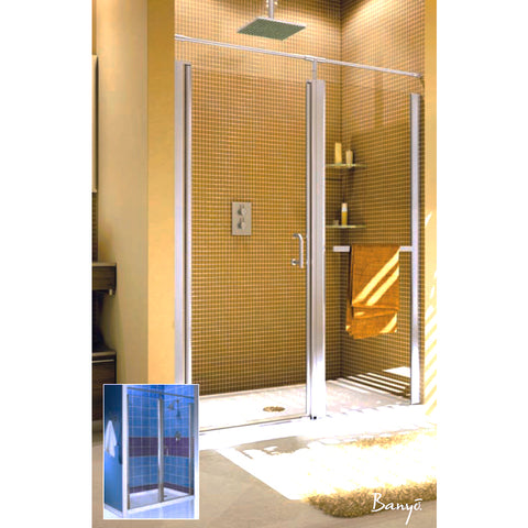 "FLEURCO E2729-12-50 Sevilla 70 27"" - 29"" Framless Pivot Shower Door Gold/Obscure"