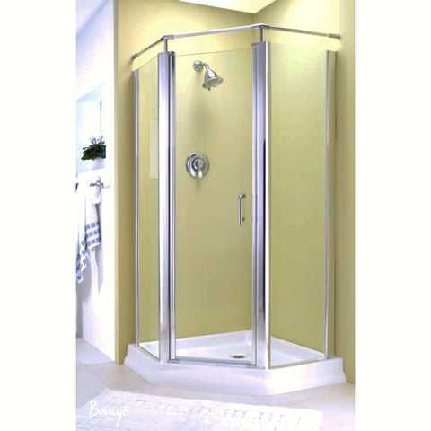 "FLEURCO E38-12-40 Sevilla Neo 38 Neo-Angle 38 x 38"" Pivot Shower Door Gold/Clear"
