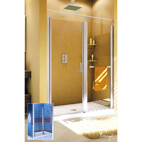"FLEURCO E5759-11-50 Sevilla  57.5"" - 59.5"" Frameless Shower Door Chrome/Obscure"