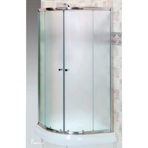 "FLEURCO EA32-12-40 Banyo® Amalfi Round Frameless Shower Door 32 x 32"" Gold/Clear"