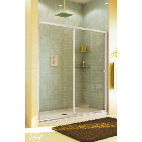 "FLEURCO EAL60-11-40 Banyo® Amalfi Shower 57.5"" - 59"" Frameless Door Chrome/Clear"