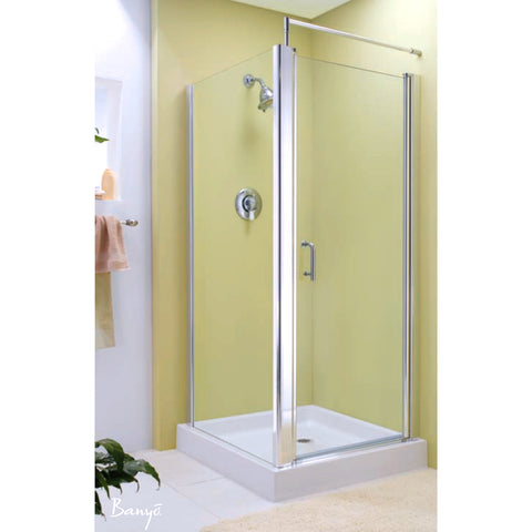 FLEURCO EC42-12-40 Sevilla 42 Square Corner 42 x 42 Pivot Shower Door Gold/Clear
